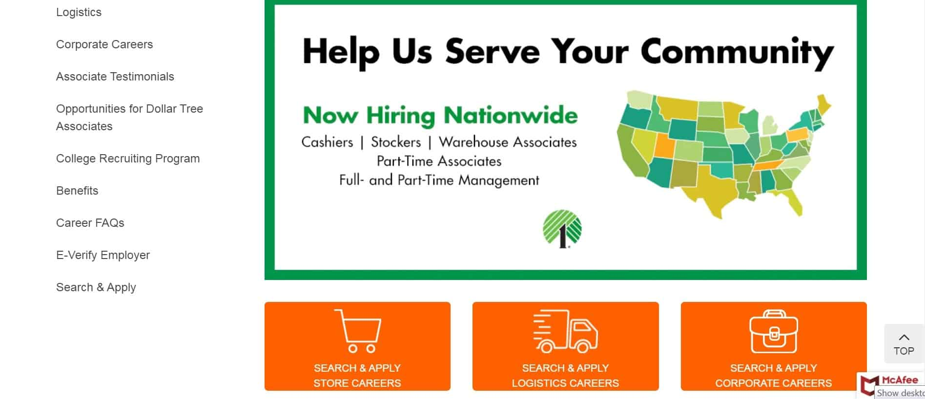 Apply at Dollar Tree by visiting the careers center and selecting either store careers, logistics, or corporate jobs.