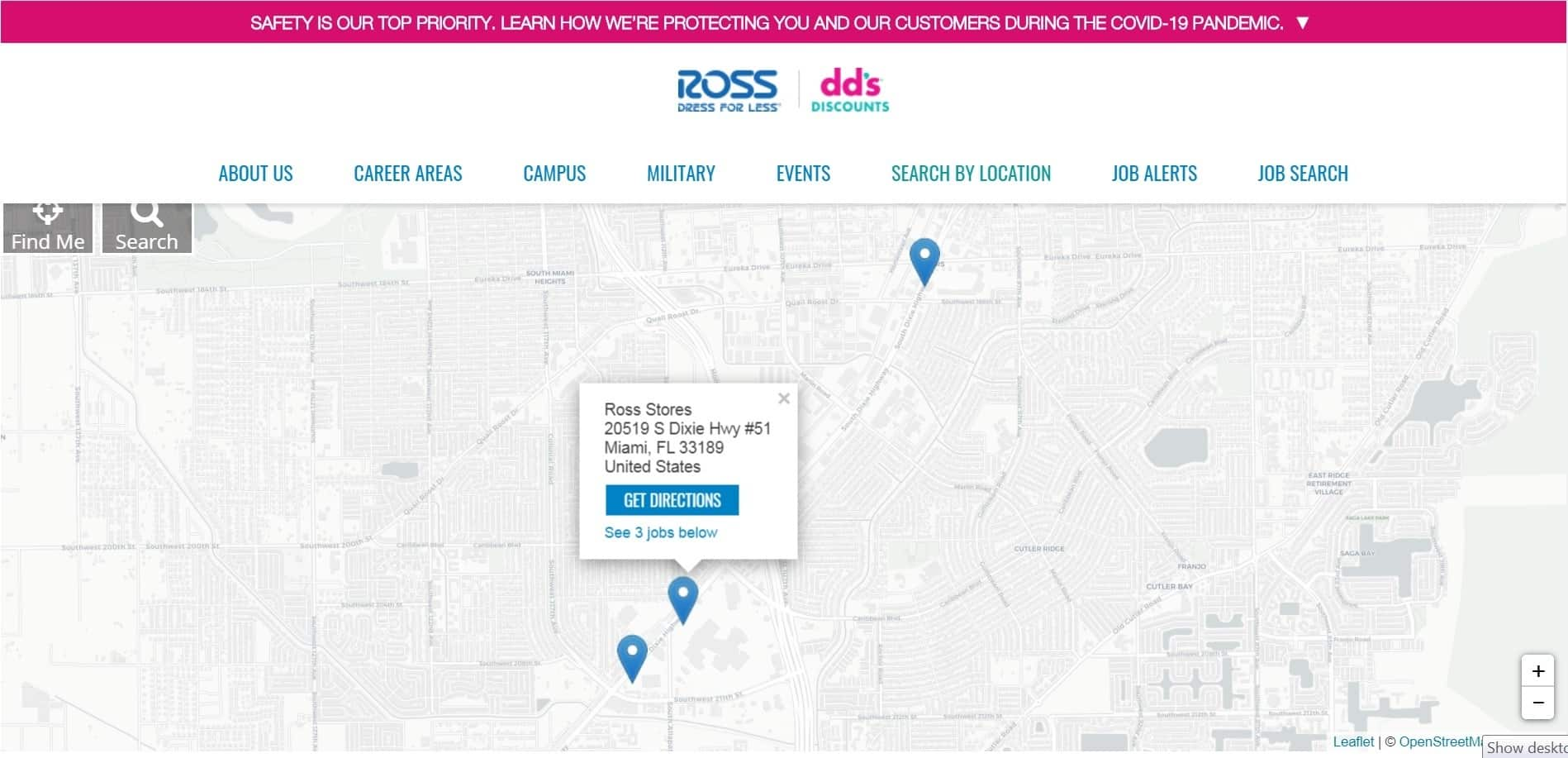 """You can use the Ross """"Search by Location"""" navigation link to make the application process much easier."""
